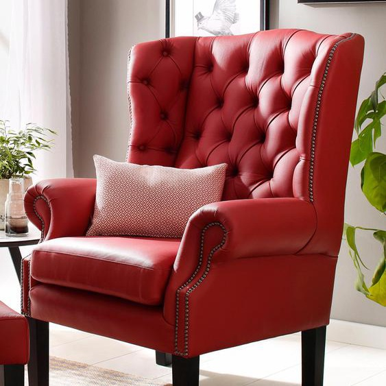 Home affaire Sessel »Bedford«, rot, Material Naturleder, 46 cm, 46 cm