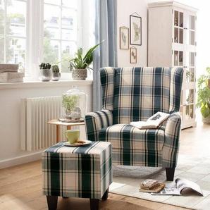 Home affaire Sessel mit Hocker im Set »Chilly« mit Federkern-Polsterung, in Karo + Unifarben