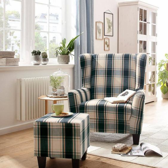 Home affaire Sessel »Chilly« (Set, 2-St., bestehend aus Sessel und Hocker), mit bequemer Federkern-Polsterung, in drei unterschiedlichen Bezugsqualitäten erhältlich, Sitzhöhe 44 cm