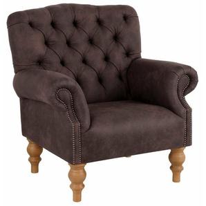 Home affaire Sessel »Lord«, mit echter Chesterfield-Knopfheftung und Ziernägeln