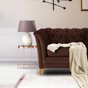Home affaire Sessel »Newport«, mit Knopfheftung im Rücken, Keder und feinen Armlehnen