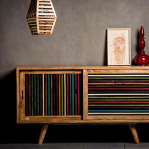 Home affaire Sideboard »Joe«, Breite 160 cm, mit farbigen Holzleisten in den Fronten