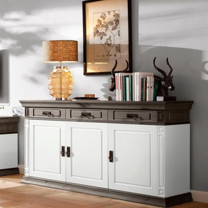 Home affaire Sideboard »Vinales«, weiß, Fachmaße schmal (B/T/H): 46/32/25 -30cm.,Fachmaße breit (B/T/H): 92/32/25-30 cm., 3 Schubladen, Landhaus-Stil, , , FSC®-zertifiziert