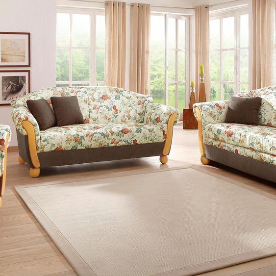 Sitzgruppe »Milano«, mit Federkern, FSC®-zertifiziert, Home affaire, braun, Material Holzwerkstoff, Blumenmuster