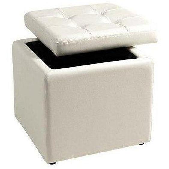 Home affaire Sitzwürfel, 1x 41x41 cm, weiß, Material Kunstleder, unifarben