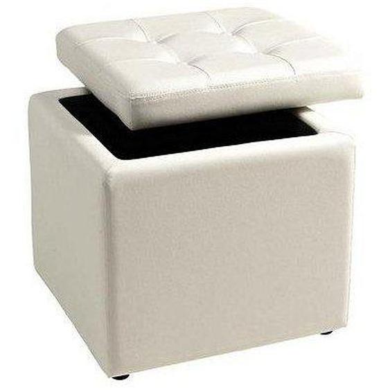 Home affaire Sitzwürfel, mit gepolstertem Deckel, weiß