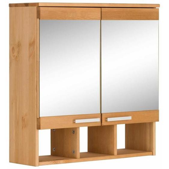 Home affaire Spiegelschrank »Josie« Breite 60 cm, aus Massivholz, verstellbarer Einlegeboden, Metallgriffe