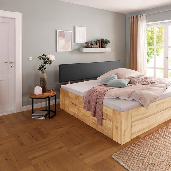 Home affaire Stauraumbett Venezia 200x200 cm Höhe Bettseite: 45 braun Massivholzbetten Betten