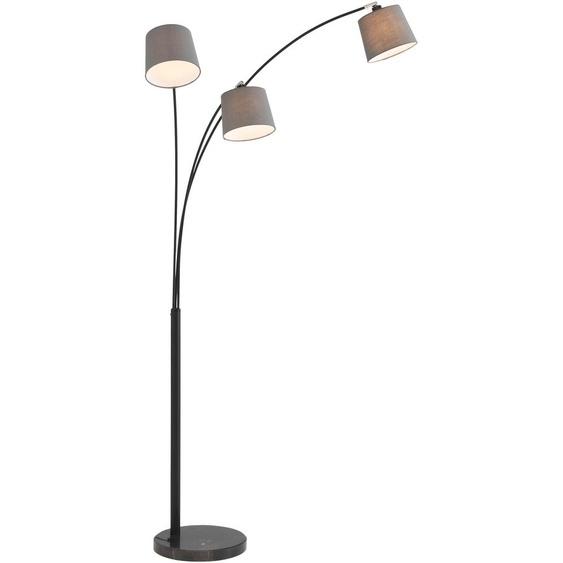 Home affaire Stehlampe Tannegg, E14, Stehleuchte / Bogenlampe mit Marmor - Fuß, graue Stoffschirme Ø 14,5-18 cm 3 flg., 18 Höhe: 198 schwarz Bogenlampen Stehleuchten Lampen Leuchten