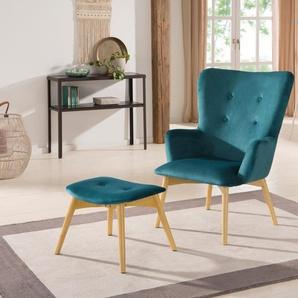 Home affaire Sessel »New York« mit Hocker, hellen Holzbeinen und Knopfheftung