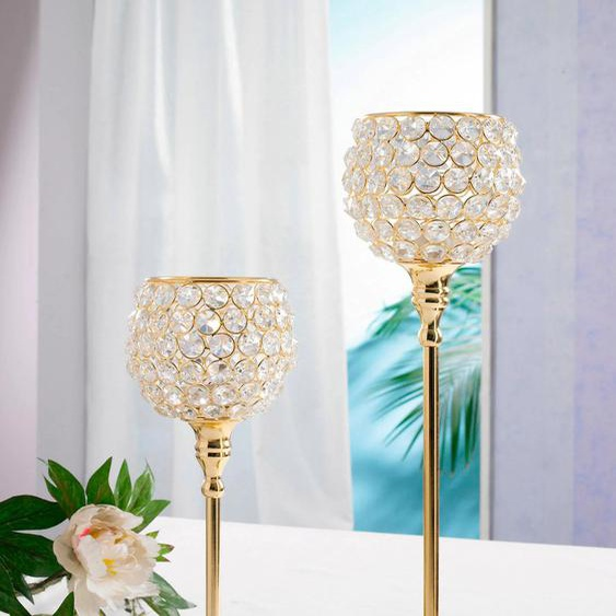 Home affaire Teelichthalter Kristall H: 43 / 48 cm goldfarben Kerzenhalter Kerzen Laternen Wohnaccessoires