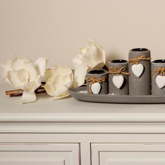 Home affaire Teelichthalter Tabea 39x13x14 cm grau Kerzenhalter Kerzen Laternen Wohnaccessoires