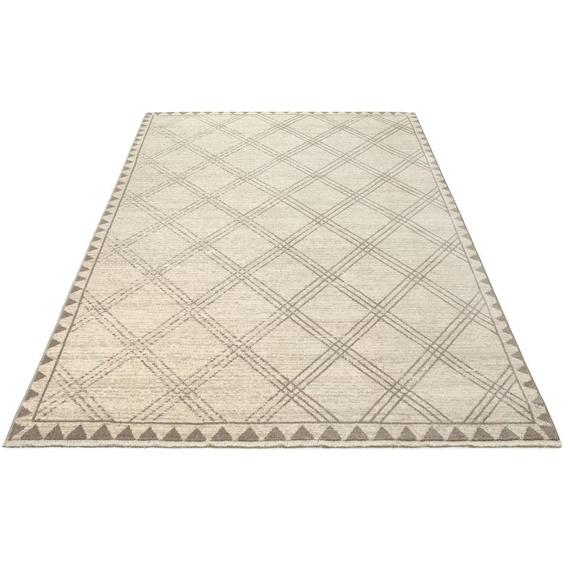 Home affaire Teppich Erik, rechteckig, 10 mm Höhe, mit Fransen, Wohnzimmer B/L: 120 cm x 155 cm, 1 St. beige Schlafzimmerteppiche Teppiche nach Räumen