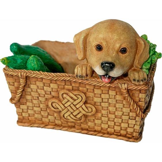 Home affaire Tierfigur Hund im Korb, Breite ca. 26cm Einheitsgröße braun Gartenfiguren Gartendekoration Gartenmöbel Gartendeko Dekofiguren