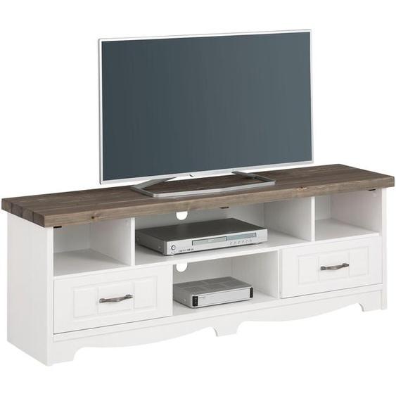 TV-Board, 148x52.5x37 cm (BxHxT), Landhaus-Stil, Home affaire, weiß, Material Massivholz, Metall