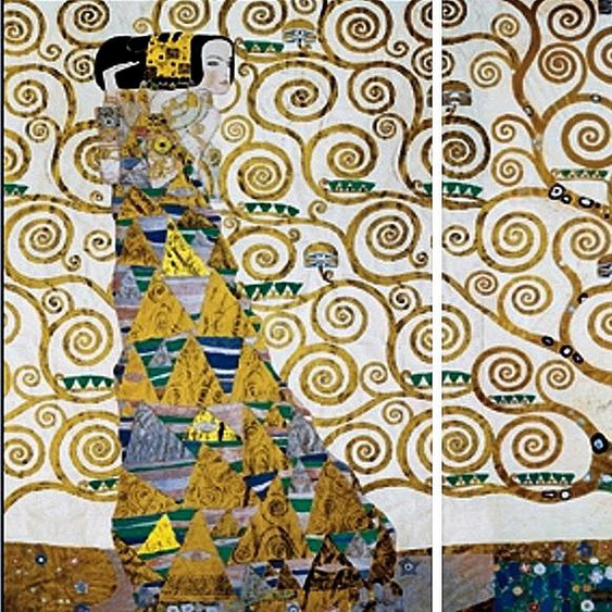 Home affaire Wandbild KLIMT - Der Lebensbaum, (Set), 3-tlg. Set B/H: 50 cm x 100 braun Kunstdrucke Bilder Bilderrahmen Wohnaccessoires