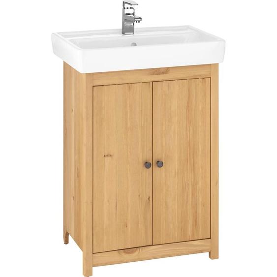 Home affaire Waschtisch Westa, Breite 60 cm, Badezimmerschrank aus Massivholz, Kiefernholz, Metallgriffe, 2 Türen, mit Waschbecken Einheitsgröße beige Waschtische Badmöbel