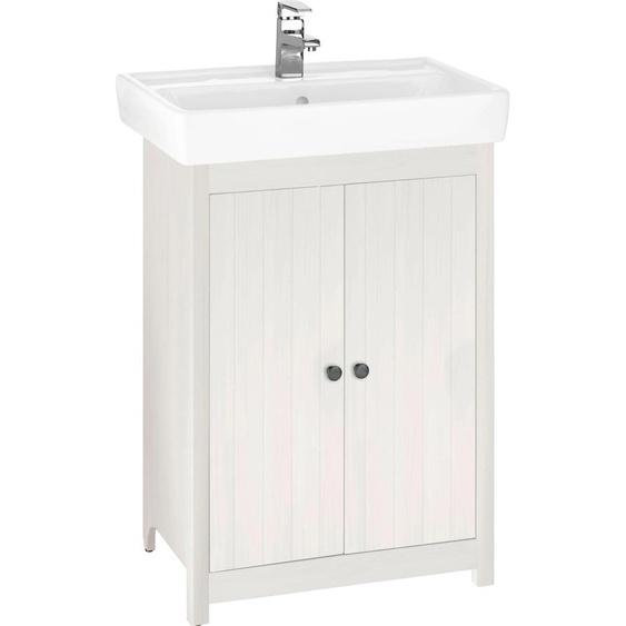 Home affaire Waschtisch Westa, Breite 60 cm, Badezimmerschrank aus Massivholz, Kiefernholz, Metallgriffe, 2 Türen, mit Waschbecken Einheitsgröße weiß Waschtische Badmöbel