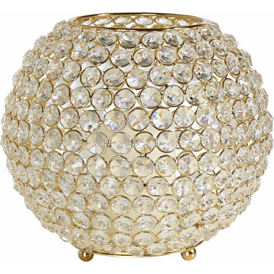 Home affaire Windlicht Kristall H: 18 cm goldfarben Kerzenhalter Kerzen Laternen Wohnaccessoires