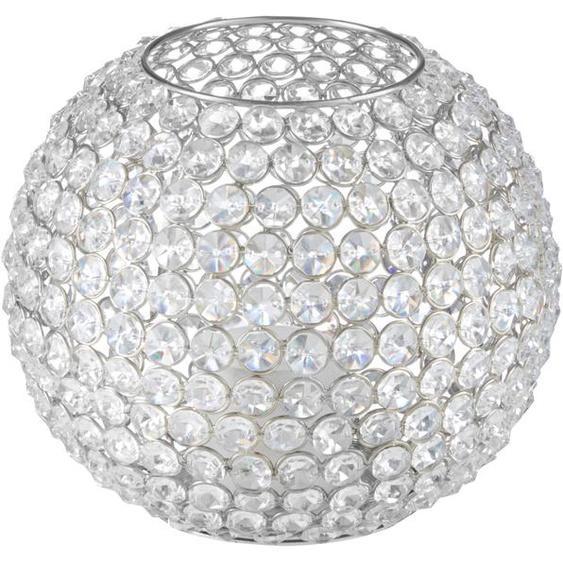 Home affaire Windlicht Kristall H: 18 cm silberfarben Kerzenhalter Kerzen Laternen Wohnaccessoires