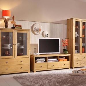 Home affaire Wohnwand Gotland, (Set, 3 St.), bestehend aus 1 Highboard, TV-Lowboard und Vitrine Einheitsgröße beige Wohnwände
