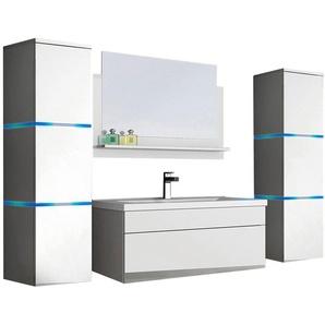 HOME DELUXE Badmöbel-Set »Wangerooge BIG XL«, (3-St), mit Push-To-Open-Technik, edle Hochglanzoptik