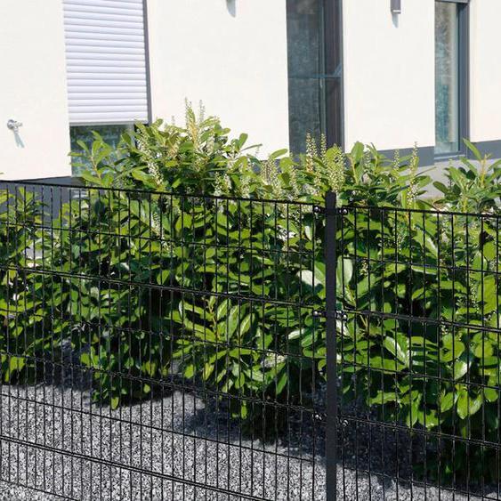 HOME DELUXE Doppelstabmattenzaun, 120 cm hoch, 45 Matten für 30 m Zaun, mit 16 Pfosten H/L: x grau Zaunelemente Zäune Garten Balkon Doppelstabmattenzaun