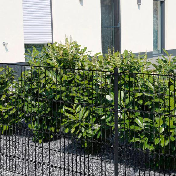 HOME DELUXE Doppelstabmattenzaun, 200 cm hoch, 50 Matten für 20 m Zaun, mit 11 Pfosten H/L: x grau Zaunelemente Zäune Garten Balkon Doppelstabmattenzaun