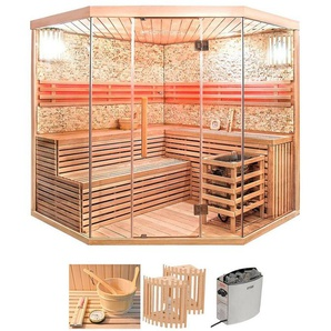 HOME DELUXE Set: Sauna »Skyline XL BIG«, 200/200/210 cm, 8 kW Ofen mit int. Steuerung
