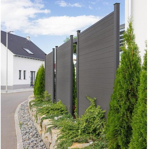 HOME DELUXE Sichtschutzelement »WPC«, inkl. Pfostenträgern, Abdeckungen und Montagematerial, Blickschutz Windschutz Sonnenschutz