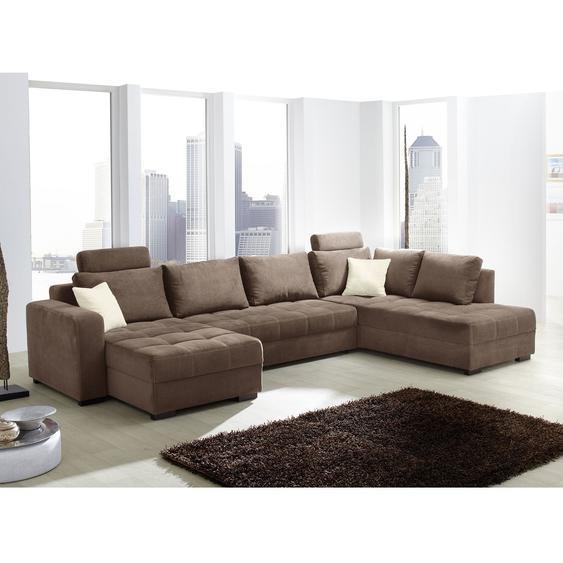 Home Design Wohnlandschaft Antego Braun Velours 357x100x222 cm (BxHxT) mit Schlaffunktion/Bettkasten Modern