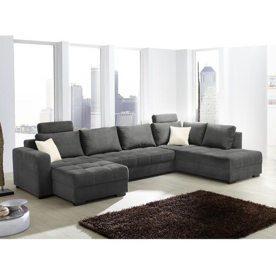 Home Design Wohnlandschaft Antego Grau Velours 57x100x222 cm (BxHxT) mit Schlaffunktion/Bettkasten Modern