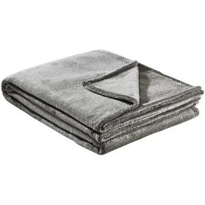 HOME STORY Flanelldecke  Glitzer | grau | 100% Polyester , Polyester | 150 cm | Möbel Kraft