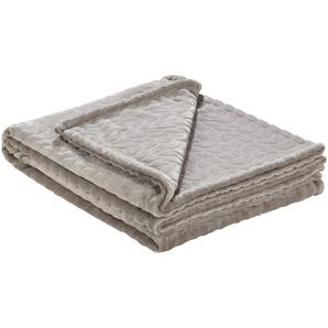 HOME STORY Fleecedecke  Zopf | beige | 100% Polyester | 150 cm | Möbel Kraft