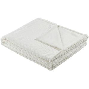 HOME STORY Fleecedecke  Zopf | weiß | 100% Polyester | 150 cm |