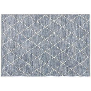 HOME STORY Handgewebter Naturteppich - blau - Baumwolle - 140 cm | Möbel Kraft