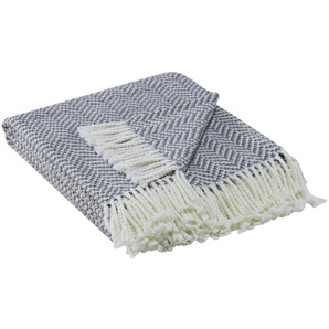 HOME STORY Jacquard Plaid  Zick Zack | grau | 50% Baumwolle, 50% Polyacryl | 130 cm | Möbel Kraft