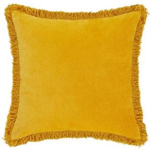 HOME STORY Kissen  Fransen - gelb - 100% Polyesterfüllung - 45 cm | Möbel Kraft