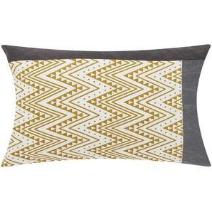 HOME STORY Kissen  Zickzack - gelb - 100% Polyesterfüllung - 30 cm | Möbel Kraft