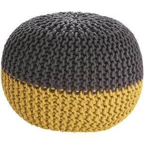 HOME STORY Pouf - gelb - Füllung: 100% Thermocol-Bohnen im Baumwollbeutel - 50 cm - 50 cm - 35 cm | Möbel Kraft