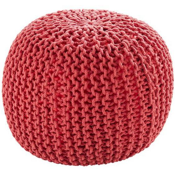 HOME STORY Pouf  Strick ¦ rot ¦ 100% Thermocol - Bohnen im Baumwollbeutel ¦ Maße (cm): H: 38 Ø: 50