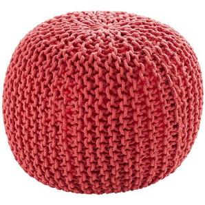 HOME STORY Pouf  Strick - rot - 100% Thermocol - Bohnen im Baumwollbeutel - 38 cm | Möbel Kraft