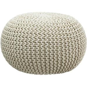 HOME STORY Pouf  Strick - weiß - 100% Thermocol - Bohnen im Baumwollbeutel - 38 cm | Möbel Kraft