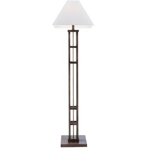 HOME STORY Stehlampe mit Holzfuß und weißem Stoffschirm - braun - 42 cm - 157 cm   Möbel Kraft