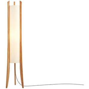 HOME STORY Stehleuchte mit Holzfüssen, 1-flammig ¦ braun ¦ Maße (cm): H: 140 Ø: [24.5]