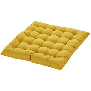 HOME STORY Stuhlkissen  Bella - gelb - 100% Baumwollfüllung - 40 cm - 4 cm | Möbel Kraft