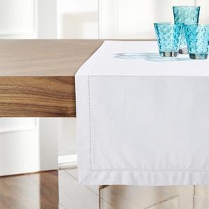 HOME STORY Tischläufer  Blanket Stick ¦ weiß ¦ 100% Baumwolle ¦ Maße (cm): B: 40