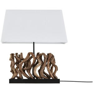HOME STORY Tischleuchte, 1-flammig mit Holzdekor ¦ holzfarben