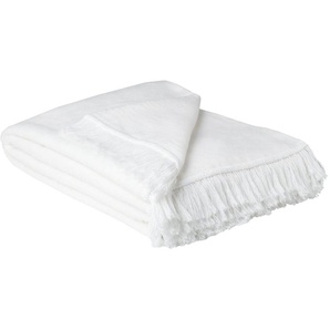 HOME STORY Wohndecke mit Fransen  Sophia   weiß   60% Baumwolle, 40% Polyacryl   150 cm   Möbel Kraft