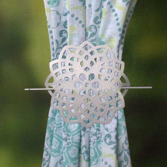 HOME WOHNIDEEN Raffhalter FLOWER Ø 12 cm silberfarben Zubehör für Gardinen Vorhänge